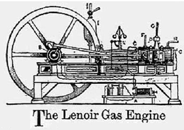 Julius Hock builds first gas ran I.C Engine