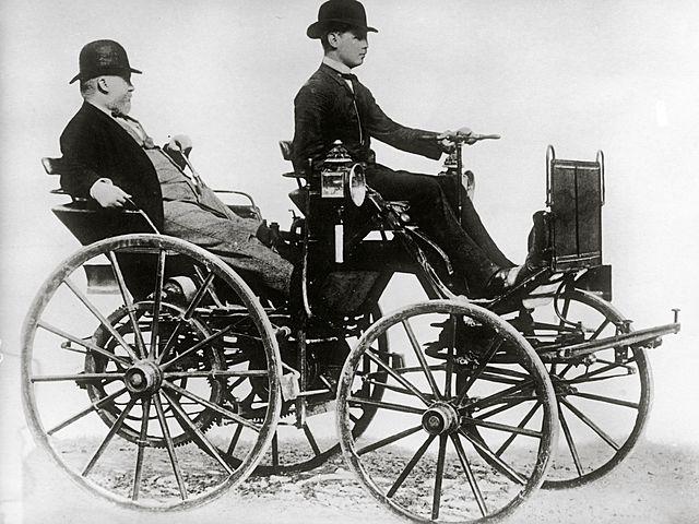 "Daimler and Maybach invent ""Cannstatt-Daimler."""