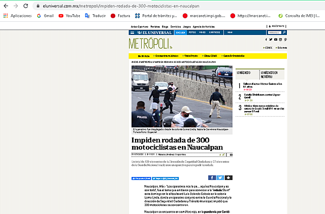 IMPIDEN RODADA DE 300 MOTOCICLISTAS EN NAUCALPAN