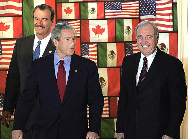 """El """"lanzamiento"""" de la Alianza para la Seguridad y la Prosperidad de América del Norte (ASPAN)."""