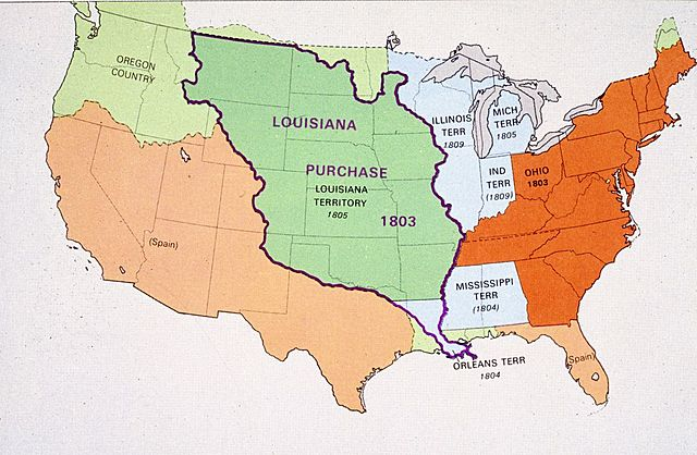 Louisiana is purchased from France.