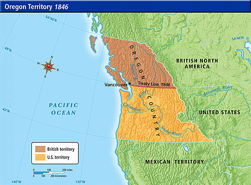 US divided the Oregon Territory with Britain