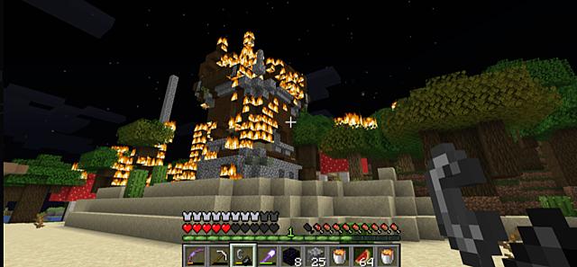 raaidtaha7 burns down Pillager Tower