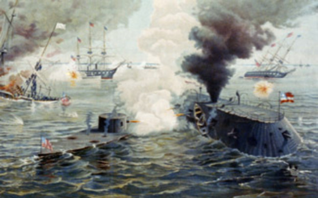 The Battle between the Virginia and the Monitor