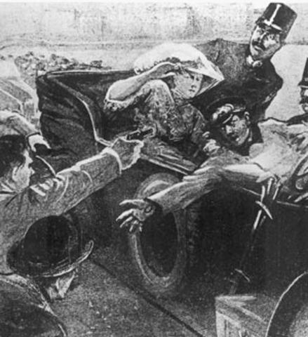 Francis Ferdinand assassinated at Sarajevo
