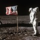 Astronaut aldrin and american flag on the moon 2