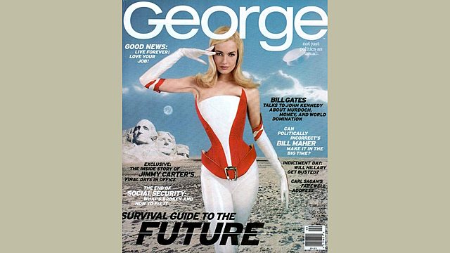 """""""George"""" magazine features Bill Gates and mentions a lung-attacking virus."""