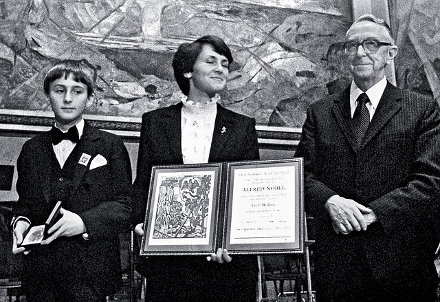 Polish leader Lech Wałęsa - laureate of Nobel Peace Prize- 1983r.
