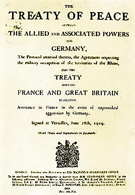 The Treaty of Versailles is signed by Germany and World War I comes to an end.