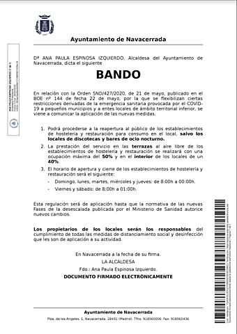 BANDO HORARIOS HOSTELERÍA