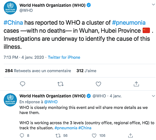 L'OMS signale les cas de pneumonie de Wuhan sur les réseaux sociaux