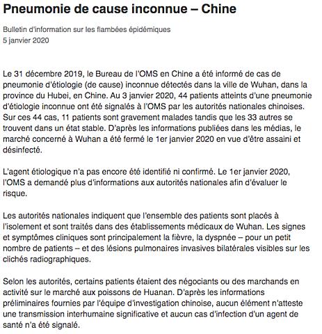Publication du premier Bulletin d'information sur les flambées épidémiques