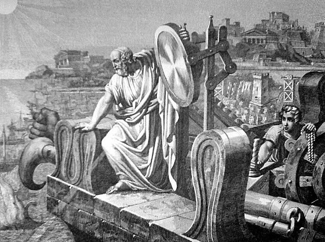 Arquímedes incendia barcos con espejos