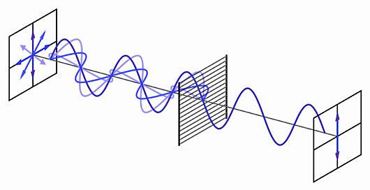 Polarización explicada con ondas transversales