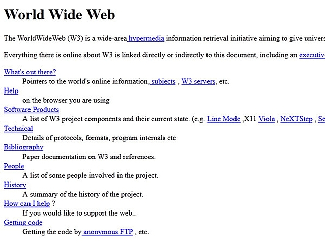 La primera página de Internet (World Wide Web)