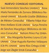 Nuevo Consejo Editorial de la revista el Bibliotecario