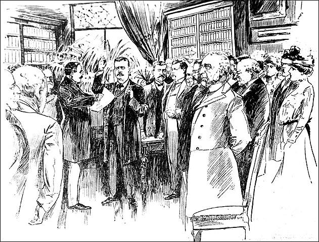Theodore Roosevelt Sworn into Office