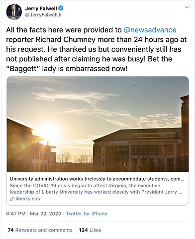 Falwell Insults Liberty Professor