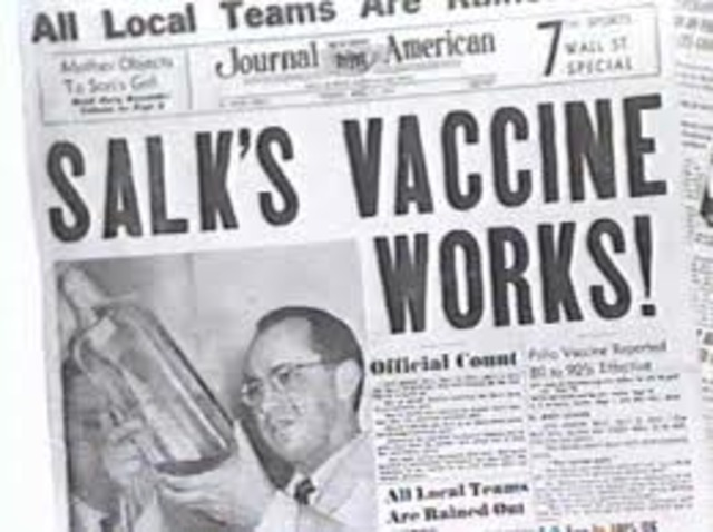 Salk's polio vaccine becomes widely available
