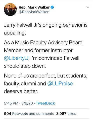 Rep. Mark Walker Calls for Falwell to Resign