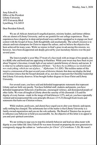Black Alumni Ask Falwell to Resign