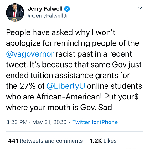 Falwell Refuses to Apologize for Blackface Tweet