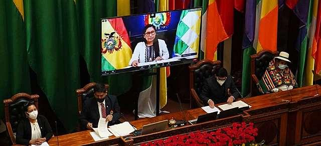 La Asamblea Legislativa no dio lugar al informe de la presidenta Áñez