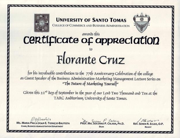 UST - Certificate of Appreciation