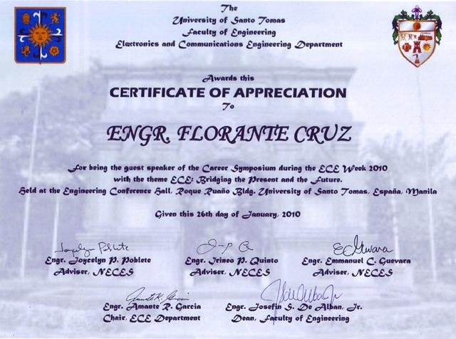 UST Certificate of Appreciation