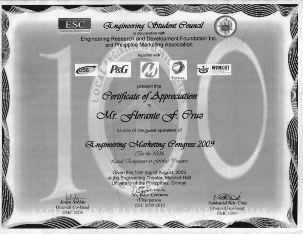 UP Certificate of Appreciation