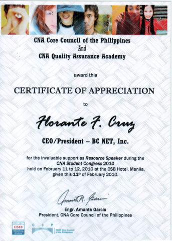 CNA Certificate of Appreciation