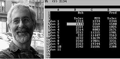 Prototipo de VisiCalc programado bajo el sistema operativo de Apple.