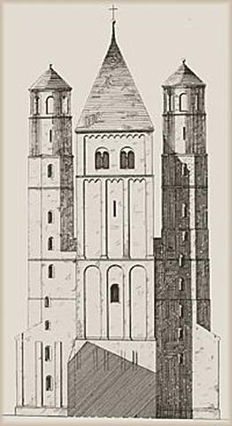 Construction de la partie supérieur de la tour Ouest.