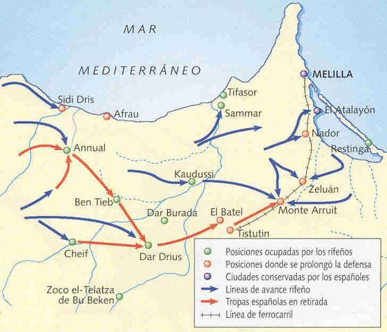 Las tropas luchando en Marruecos sufren el desastre de Annual