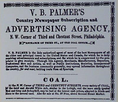 Primera agencia de publicidad ,con el nombre de Volney Palmer en Filadelfia .(EEUU)