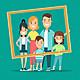 Familia feliz enmarcado retrato estilo plano ilustracion vectorial 126523 15