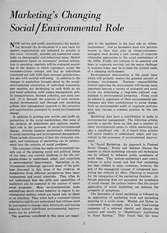 Edicion especial de Journal of Marketing.