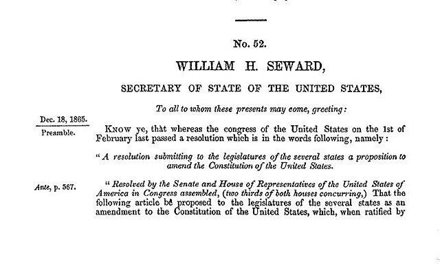 Passage of the 13th Amendment