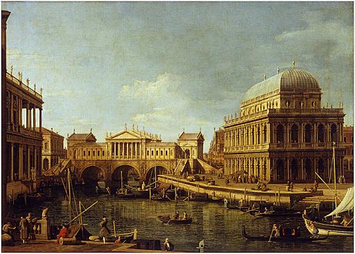 Capriccio con progetto di ponte ed edifici Palladiani