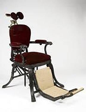 Primer sillón dental con reposacabezas ajustable