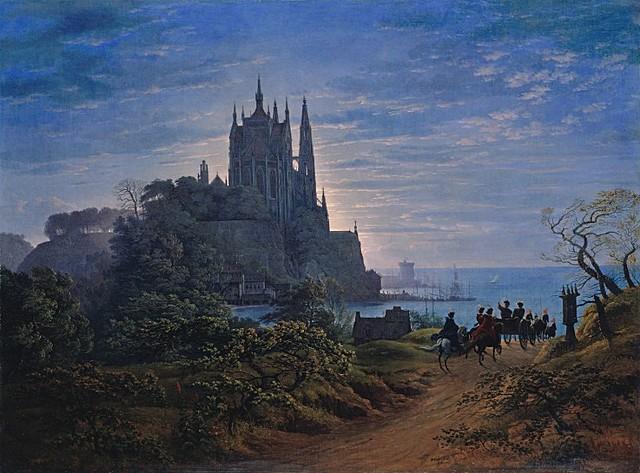 Gothic Church on a Rock by the Sea, Karl Friedrich Schinkel