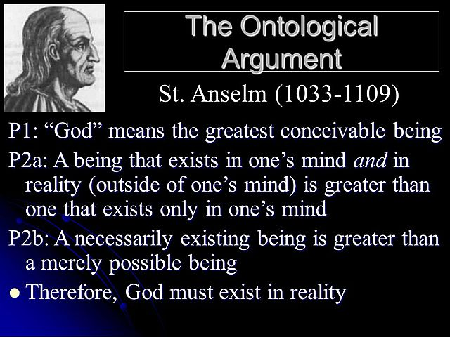Anselm includes in his Proslogion his famous 'ontological proof' of the existence of God.