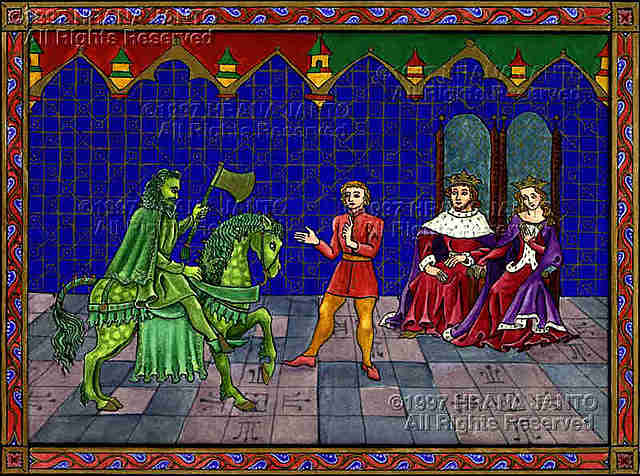 The courtly poem Sir Gawain and the Green Knight tells of a mysterious visitor to the round table of King Arthur