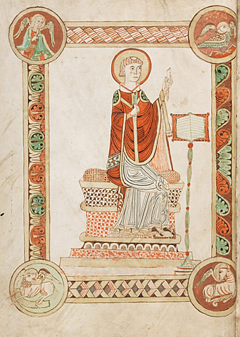 The Venerable Bede, in his monastery at Jarrow, completes his history of the English church and people