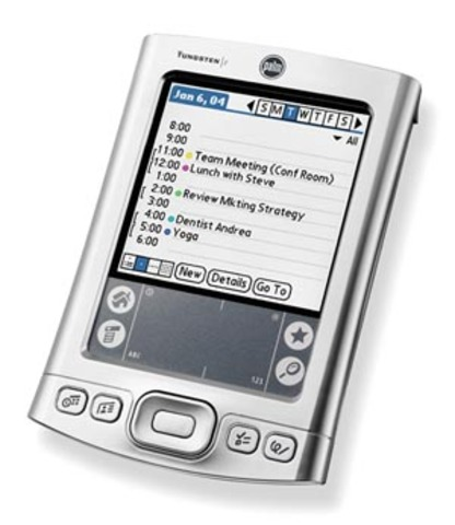 Palm Pilot Device in use