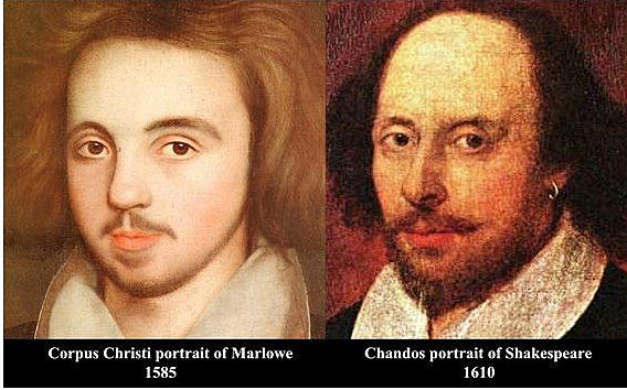 Marlowe and Shakespeare are born in the same year, with Marlowe the older by two months