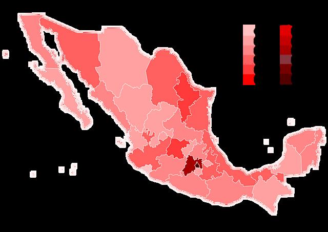 Casos registrados en estados de México
