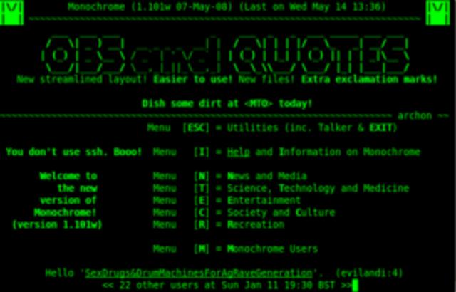 BBS:Un Bulletin Board System o BBS (Sistema de Tablón de Anuncios) es un software para redes de computadoras que permite a los usuarios conectarse al sistema (a través de internet o a través de una línea telefónica) y utilizando un programa terminal (o te