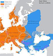 1054 - religiøs splittelse mellom Vest-Europa og det østromerske riket