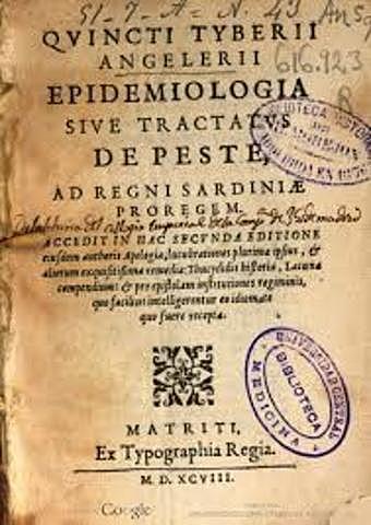 Primera referencia al término epidemiología en castellano, libro de Quinto Tiberio Angelerio